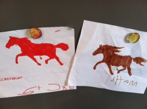 The horse stencils that Judah named and embellished.